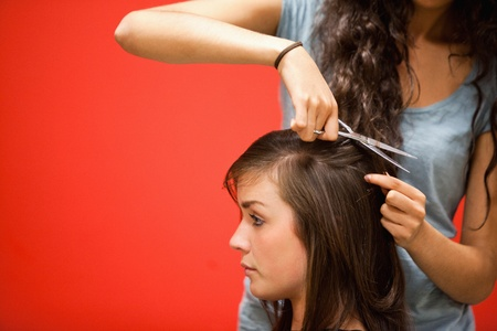Student hairdresser cutting hair with scissors Stock Photo - 11181185