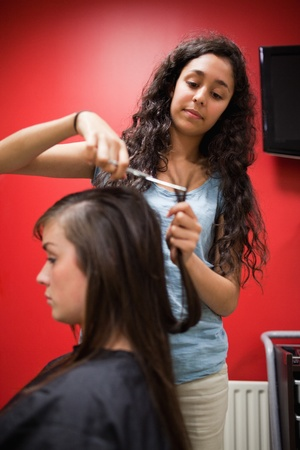 Portrait of a student hairdresser cutting hair with scissors photo