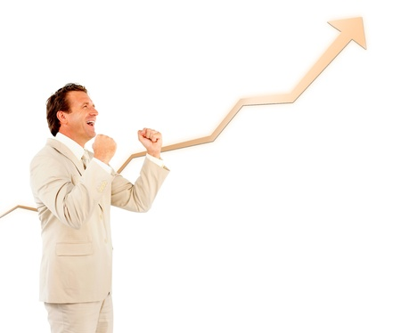 mature men: Successful businessman cheering with a curve going up Stock Photo