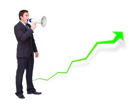 businessman using a megaphone: Businessman using a megaphone with a growing curve