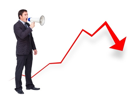 businessman using a megaphone: Unsuccessful businessman using a megaphone with a curve going down Stock Photo