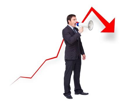 businessman using a megaphone: Unsuccessful young businessman using a megaphone with a curve going down