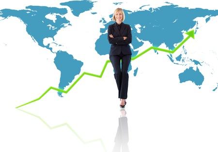 Successful international businesswoman against a world map Stock Photo - 11184348