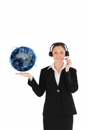 Customer service operator holding a planet globe photo
