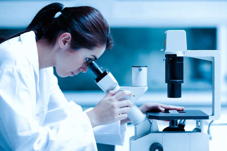 lab coats: Scientist using a microscope in a laboratory Stock Photo