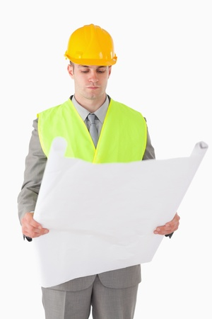 Portrait of a builder looking at a plan against a white background photo
