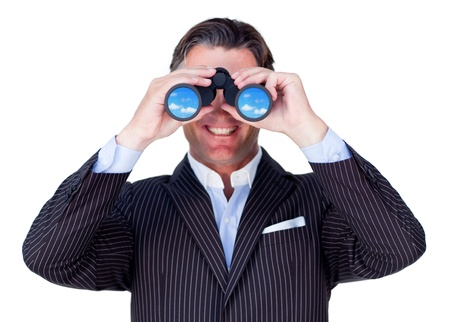 looking ahead: Smiling businessman using binoculars isolated on a white background