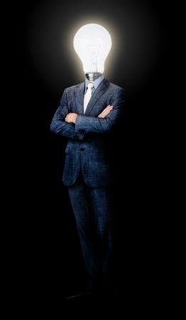 Lamp head businessman against a black background Stock Photo - 11618633