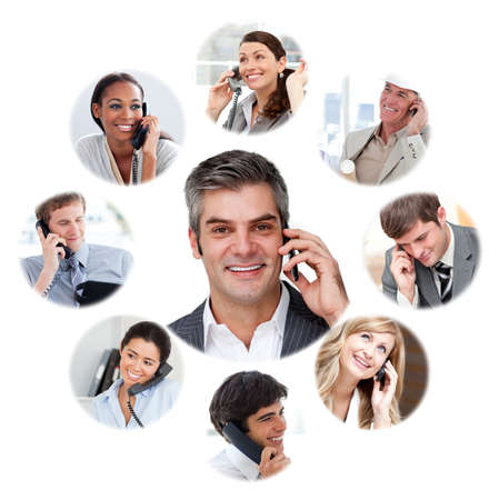 Illustration sur la communication d'entreprise sur un fond blanc photo