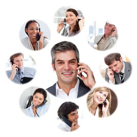 hablando por telefono: Ilustraci�n sobre la comunicaci�n de negocios sobre un fondo blanco