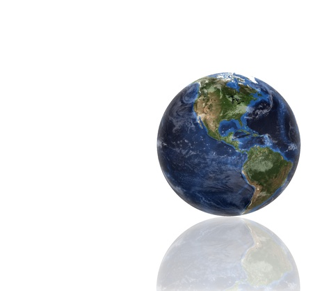 3d planet globe against a white background photo