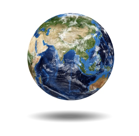 Isolated planet globe against a white background photo
