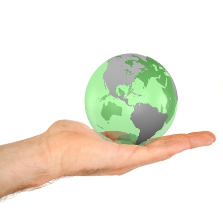 Masculine hand holding a 3d planet globe against a white background photo