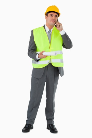 caller: Architect listening to caller against a white background