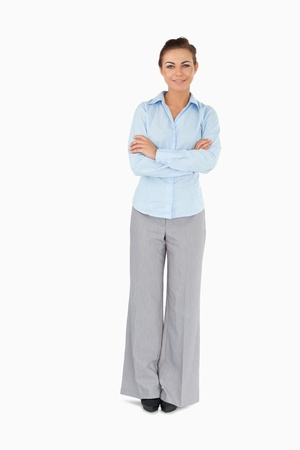 Businesswoman with arms folded against a white background Stock Photo - 11623632
