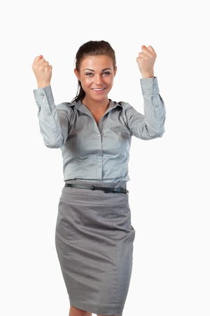 Portrait of cheerful businesswoman against a white background photo