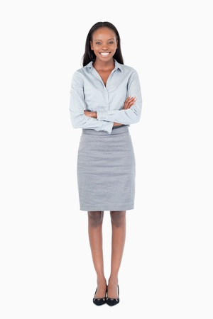 Portrait of a young businesswoman against a white background Stock Photo - 11624034