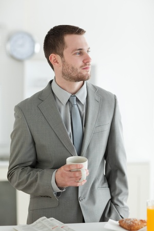 Portrait of a young businessman having breakfast in his breakfast Stock Photo - 11632456