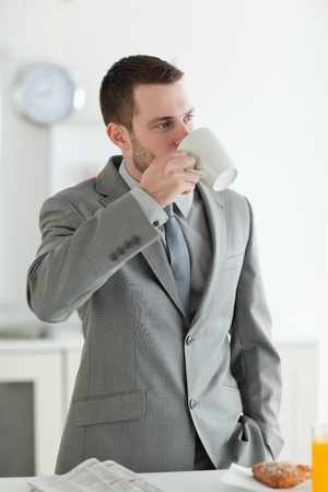 Portrait of a good looking businessman having breakfast in his kitchen Stock Photo - 11632459