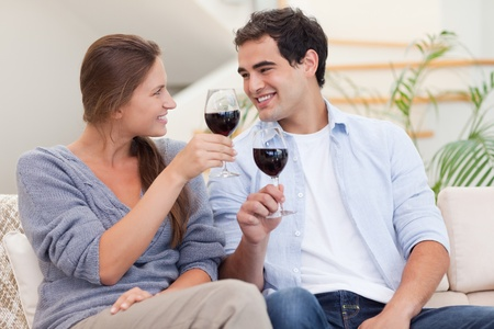 Couple having a glass of wine in their living room photo