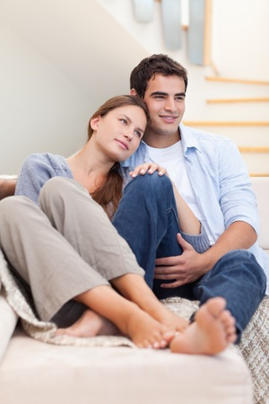 Portrait of a lovely couple in their living room Stock Photo - 11632532