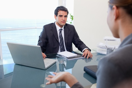 Business team during a meeting in an office photo