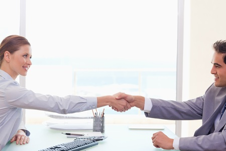 Young trading partner shaking hands
