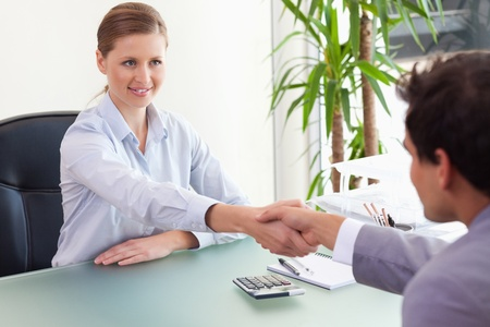Young consultant shaking hands with her client Stock Photo - 11716388