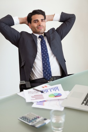 sales person: Portrait of a satisfied sales person in his office