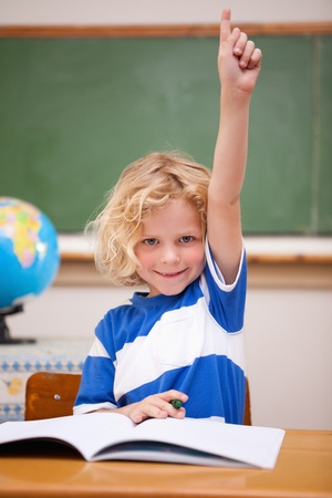Portrait of a schoolboy raising his hand in a classroom