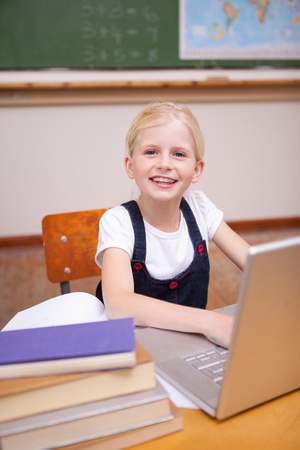 Portrait of a little girl using a notebook in a classroom Stock Photo - 11682472