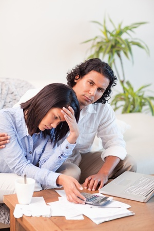 Young couple underestimated their expenses Stock Photo - 11684354