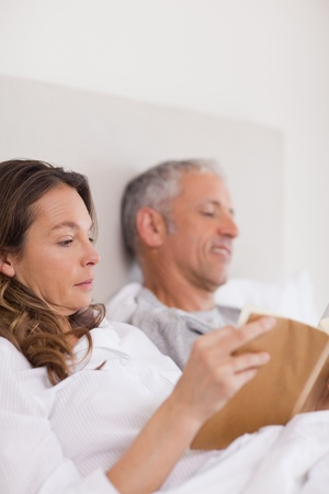 Portrait of a woman reading a book while her husband is reading a newspaper in their bedroom Stock Photo - 11685475