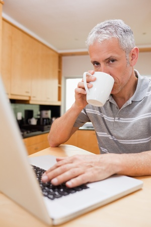 Portrait of a man using a laptop while drinking tea in a kitchen photo