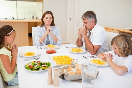 Thankful family saying grace together Stock Photo - 11684767