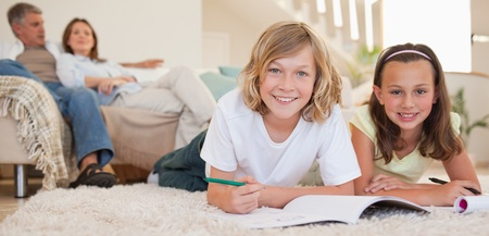 Siblings doing their homework on the floor with their parents behind them Stock Photo - 11686512
