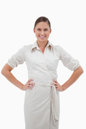 Portrait of a smiling businesswoman posing against a white background Stock Photo - 11687238