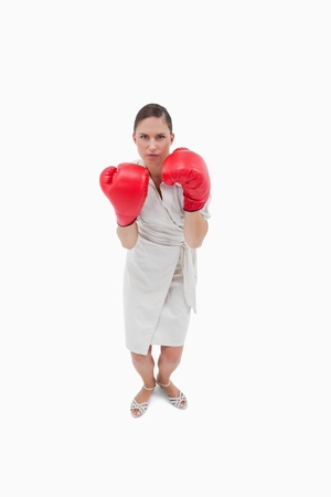 Portrait of a serious businesswoman with boxing gloves against a white background Stock Photo - 11687604