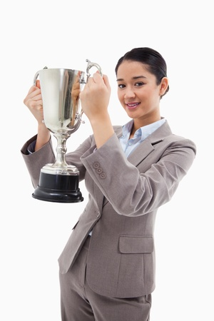Portrait of a businesswoman holding a cup against a white background Stock Photo - 11686671