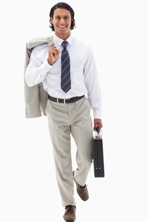 Portrait of a businessman going to work against a white background photo
