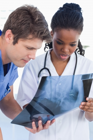 Portrait of doctors looking at a of X-ray in an office Stock Photo - 13600241