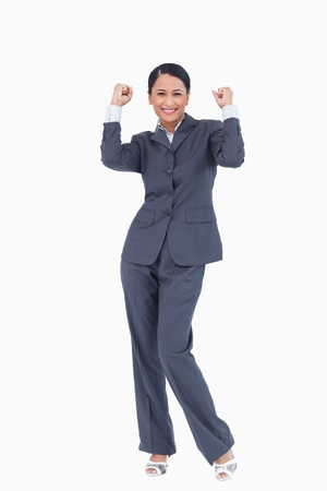 Successful businesswoman against a white background photo
