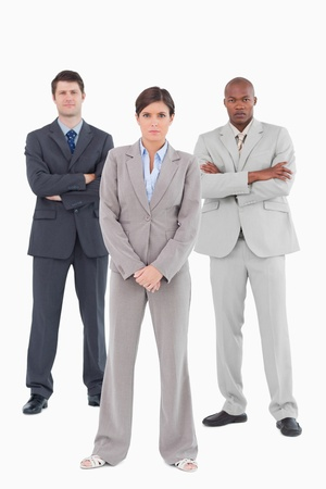 Confident salesteam standing together against a white background Stock Photo - 13606253