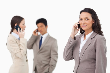 salespeople: Salespeople on the phone against a white background