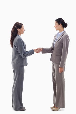 Two businesswomen shaking hands against white background photo