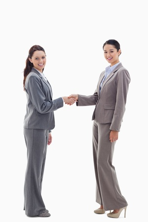 Two businesswomen shaking hands and smiling against white background Stock Photo - 13603915