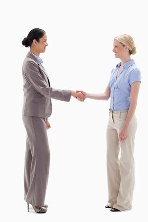 Women shaking hands happily against white background Stock Photo - 13603859