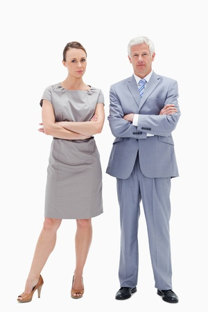 White hair man posing with woman crossing their arms against white background photo