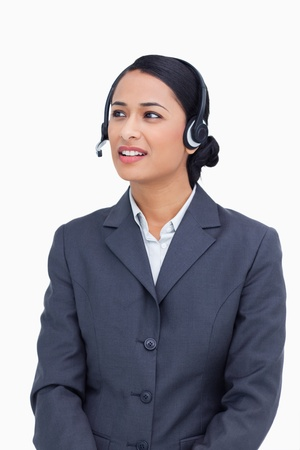 Close up of talking call center agent against a white background photo