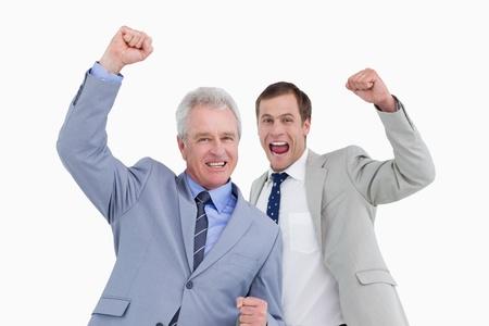 Celebrating tradesmen against a white background photo